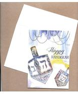 Carte Happy Hanukkah Jewish Holiday Greeting Cards set 8 blue Dreidel C - $17.77