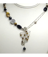 Abstract Tigereye & Black Onyx Gemstone & Sterling Silver Necklace - $54.99