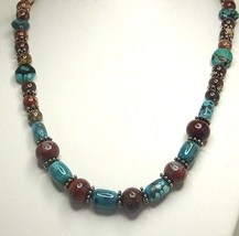 Turquoise & Poppy Jasper Gemstone Sterling Silver Necklace and Earring Set - $149.99