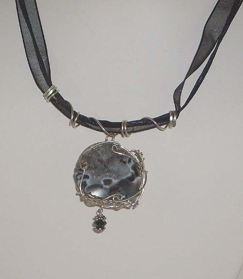 Sterling Silver Nested Geode Pendant Necklace