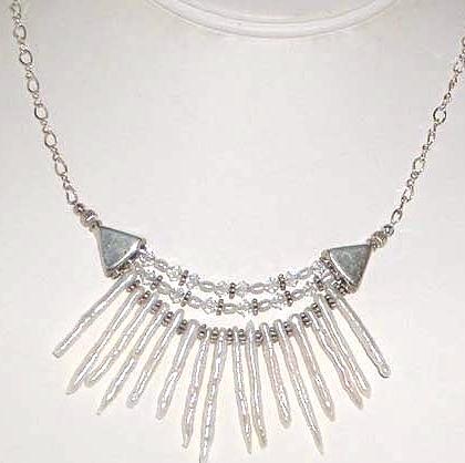 Pearl Sticks, Swarovski Crystal and Sterling Silver Necklace Bridal Wedding