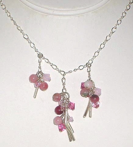 Pink Candy Jade & Crystal Sterling Silver Dangle Necklace