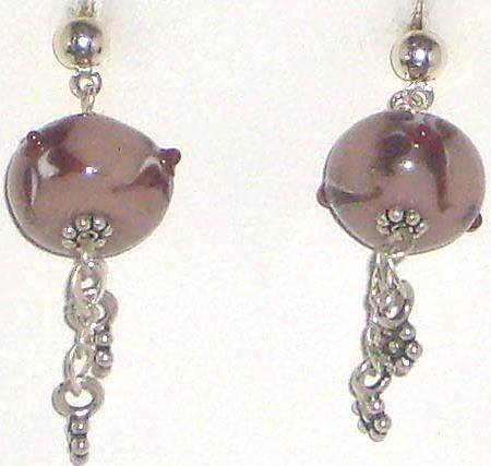 Light & Dark Brown Lamp Work Sterling Silver Earrings