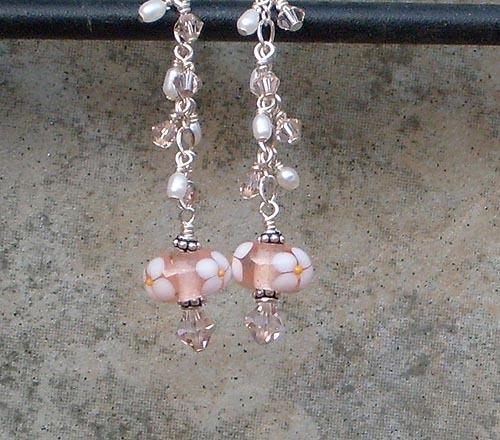 Peach & White Floral Lamp Work, Swarovski Crystal & Sterling Silver Earrings