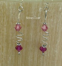 Pink Swarovski Crystal & Zig Zag Argentium Sterling Silver Earrings     ... - $15.99