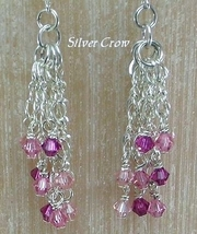 Pink Swarovski Crystal  Sterling Silver Chain Cascade Earrings     - $37.99