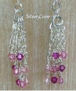 Pink Swarovski Crystal  Sterling Silver Chain Cascade Earrings     - $37.99