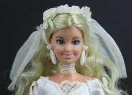 Bridal Barbie Mattel Wedding Dress with Veil Beautiful White Satin Lace - $21.01