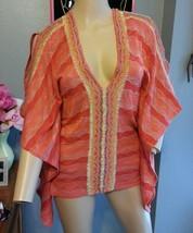 Cecilia Prado Anthropologie Boho Ethnic Poncho Kimono Blouse Top Xs S M - $45.59