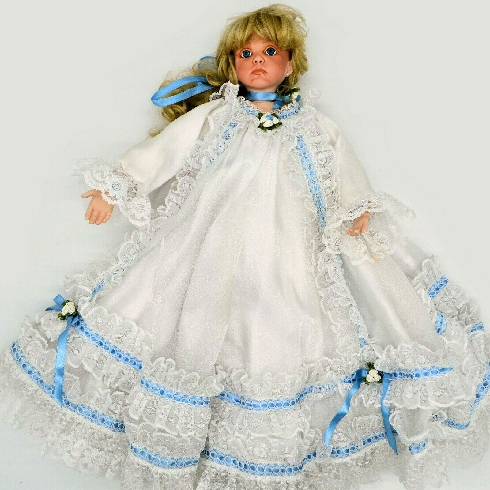 "Primary image for Vintage Victorian Porcelain 21"" Doll White Satin & Lace Trim Dress Blonde Hair"