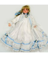 "Vintage Victorian Porcelain 21"" Doll White Satin & Lace Trim Dress Blond... - $98.99"