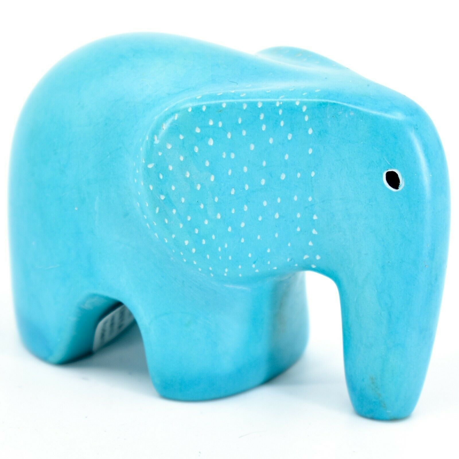 Crafts Caravan Hand Carved Soapstone Blue Baby Elephant Figurine Made in Kenya