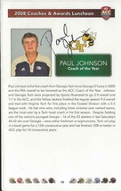 Coach Paul Johnson Signed 2008 ACC Awards Luncheon Program Page Georgia ... - $18.51