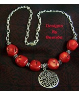 Bamboo Coral & Sterling Silver Celtic Necklace and Earrings - $122.00