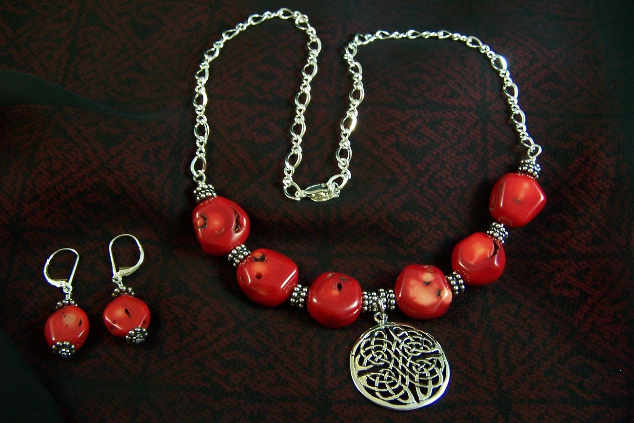 Bamboo Coral & Sterling Silver Celtic Necklace and Earrings