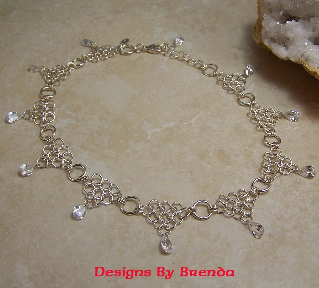 1m clear cz teardrop chain necklace beige