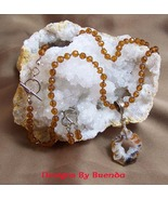 Faceted Topaz Beads and Occo Geode Slice Necklace & Earring  - $99.00