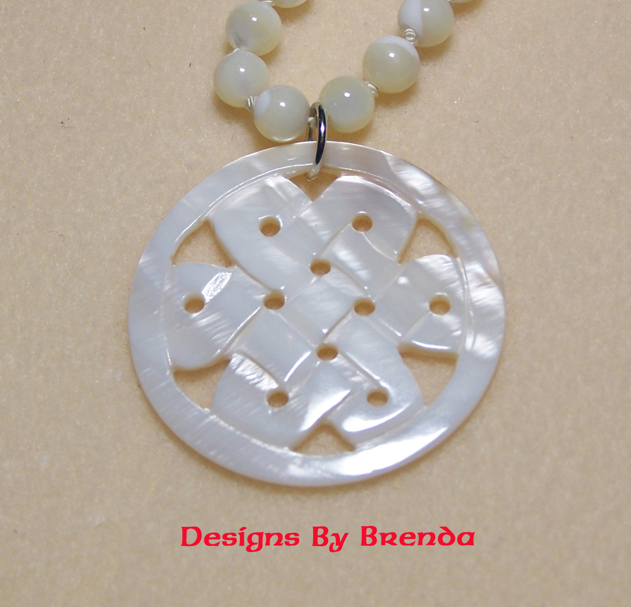 Celtic Knot Mother of Pearl  Necklace & Earring Set