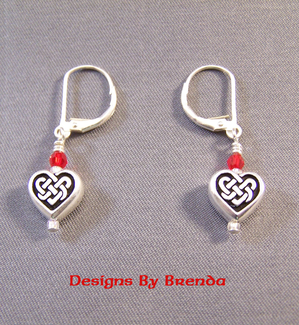 Celtic Heart Earrings with Red Swarovsli Crystals