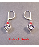 Celtic Heart Earrings with Red Swarovsli Crystals - $27.00