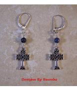 Iona Celtic Cross and Sodalite Earrings - $26.00