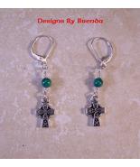Celtic Cross and Malachite Earrings - $26.00