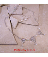 Pearl & Triangle Chain Maille 3 Drop Necklace &... - $135.00