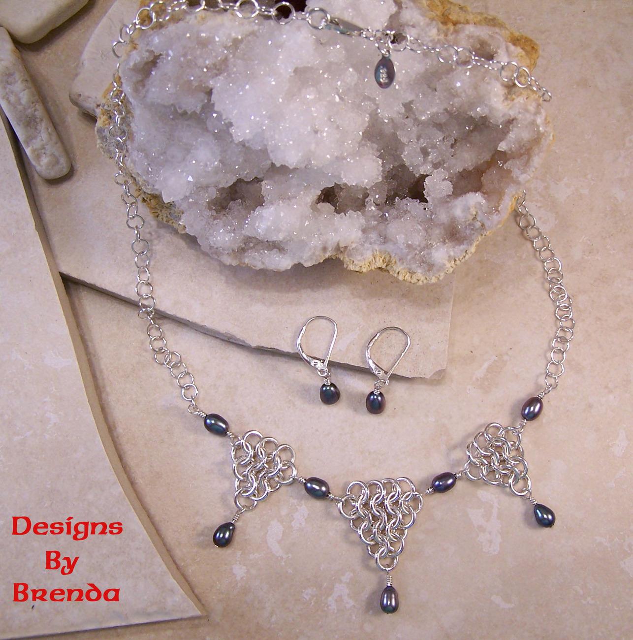 Dbb tri point   black pearl chain maille set