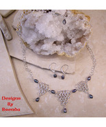 Black Pearl & Triangle Chain Maille Necklace & ... - $135.00