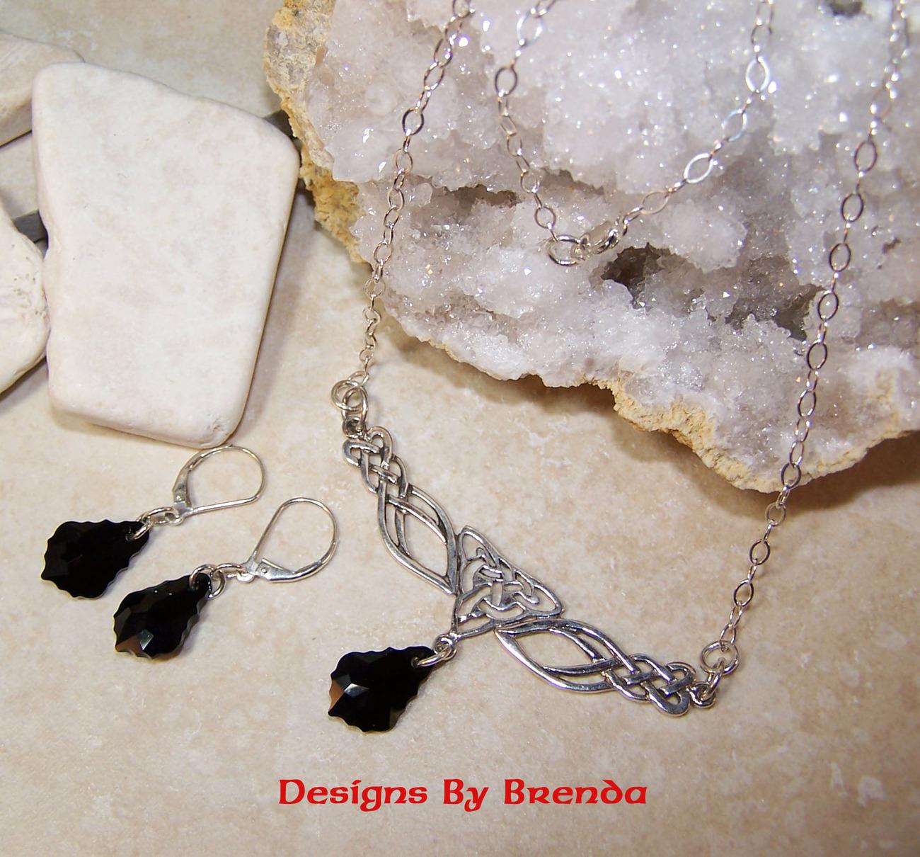 Jet baroque crystal festoon set