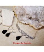 Celtic Knot Festoon & Jet Crystal Necklace & Ea... - $58.00