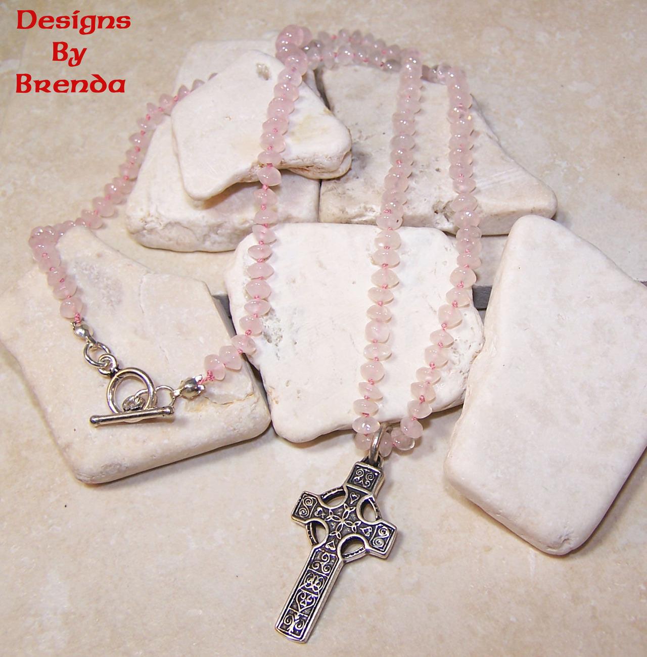 Rose quartz bead celtic cross necklace