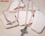 Rose quartz bead celtic cross necklace thumb155 crop