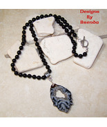 Black Onyx Beads & Occo Geode Slice Necklace - $94.00
