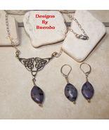Purple Kiwi Quartz & Celtic Knot Necklace & Ear... - $61.00