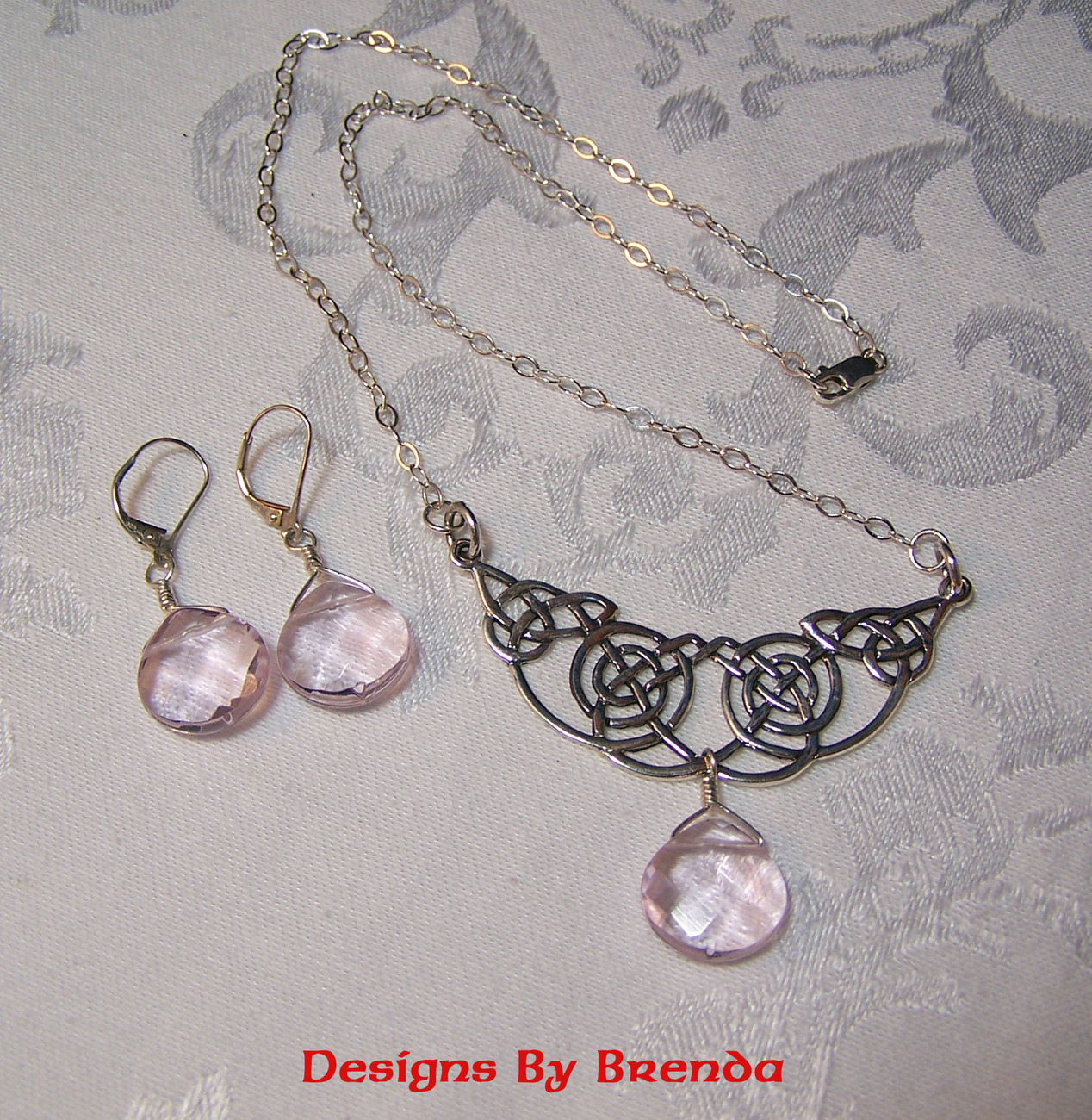 Rose quartz rounded festoon set