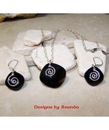 Celtic Spiral  & Jet Crystal Necklace & Earring... - $84.00