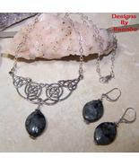 Blue Moonstone & Celtic Knot Festoon Necklace &... - $86.00