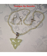 New Jade & Celtic Knot Beaded Necklace & Earrings Set - $100.00
