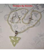 New Jade & Celtic Knot Beaded Necklace & Earrin... - $100.00