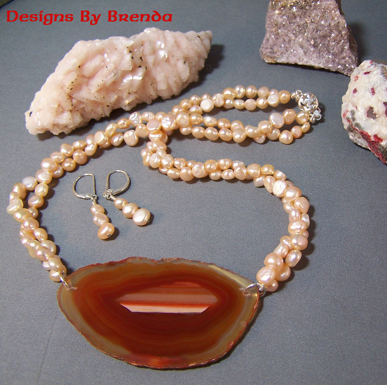 Orange agate slice peach pearls set