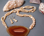 Orange agate slice peach pearls set thumb155 crop