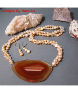Peach Pearls & Agate Slice Necklace & Earrings Set - $130.00