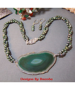 Green Pearls & Agate Slice Necklace & Earring Set - $134.00