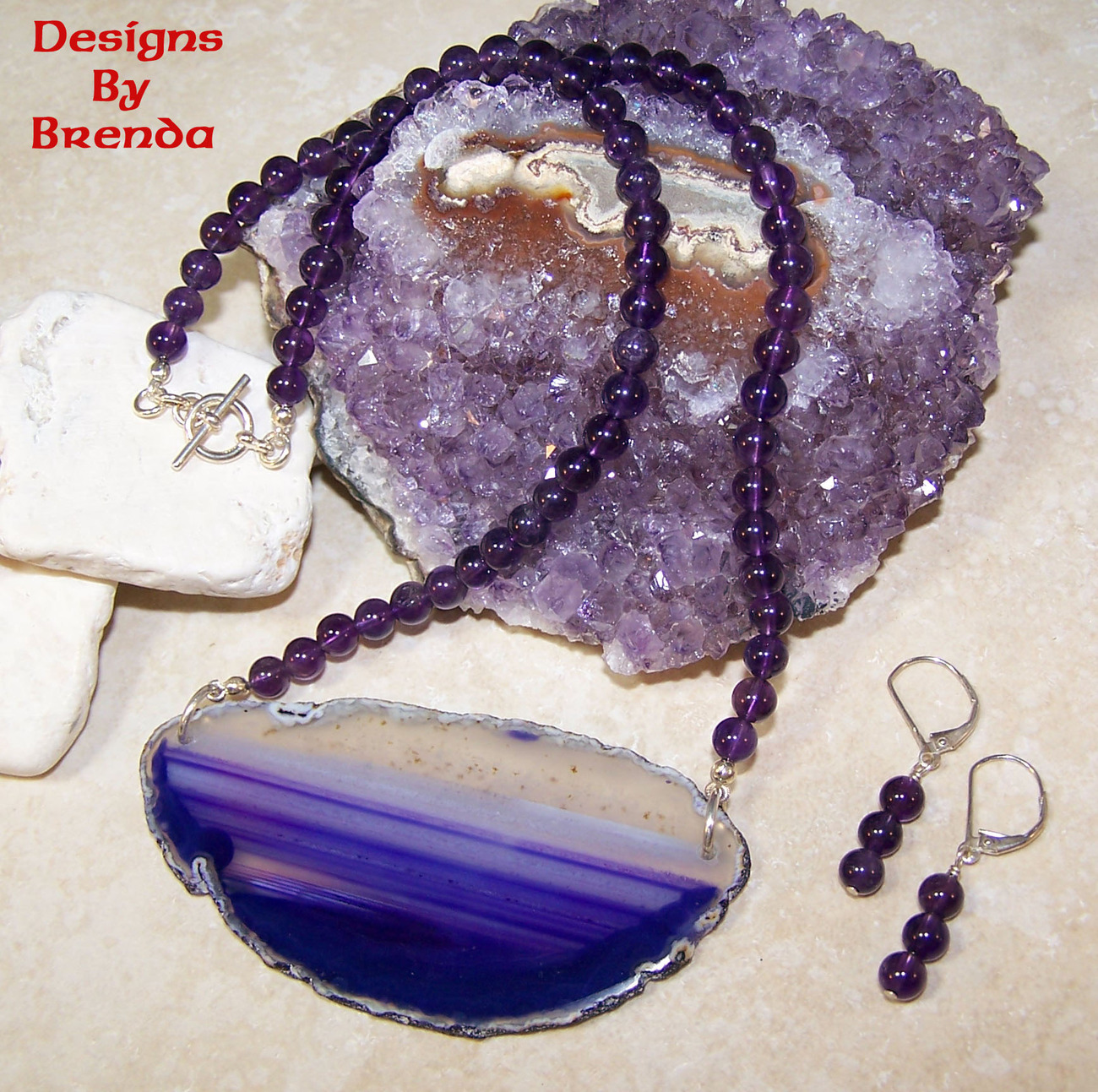 Purple clear agate slice amethyst beads set