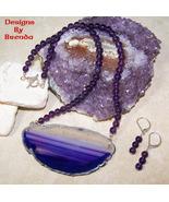 Purple Agate Slice & Amethyst Necklace & Earrin... - $96.00