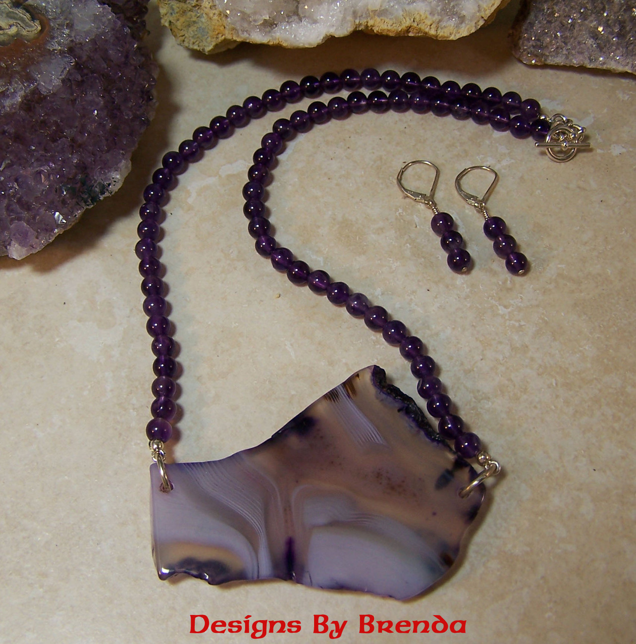 Amethyst & Free Form Agate Slice Necklace & Earring Set