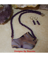 Amethyst & Free Form Agate Slice Necklace & Earring Set - $90.00