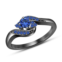 Promise Engagement Ring Round Cut Blue Sapphire 10k Black Gold Plated 92... - $79.64