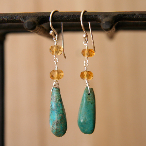 Turquoise and Citrine Earrings